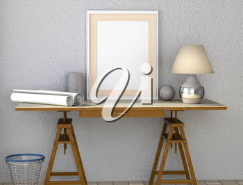 Mock up interior. Desk with lamp. Paper and other desktop. Trash can under the table. 3d rendering.