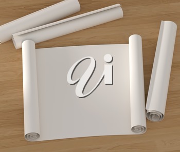 Set empty roll of drawing paper on a wooden surface. 3D illustration