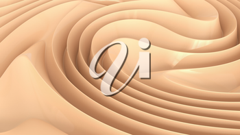 Abstract background with curls of delicate cream color. 3D rendering