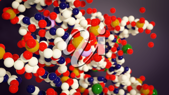 Abstract chemistry background with molecules. 3d illustration of chemical elements
