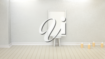 Simple frame with an empty wall. Element of design for presentation. 3D rendering. Mock up