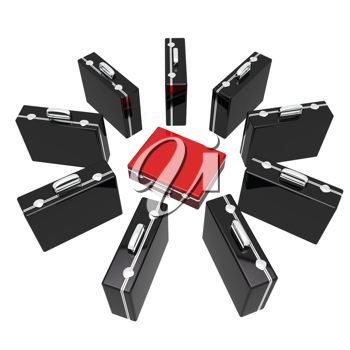 Royalty Free Clipart Image of Black Briefcases Surrounding a Red Briefcase in the Center of a Circle