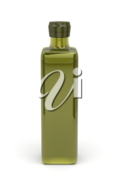 Front view of olive oil bottle on white background