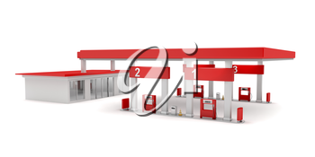 Gas station on white background