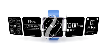 Royalty Free Clipart Image of a Smart Watch with Different Screens