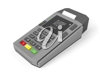Credit card reader on white background