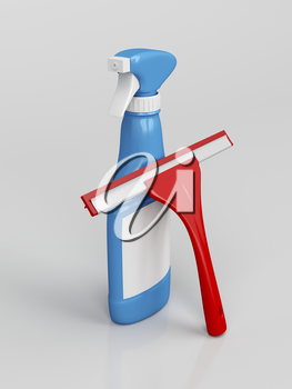 Squeegee and window cleaner spray bottle