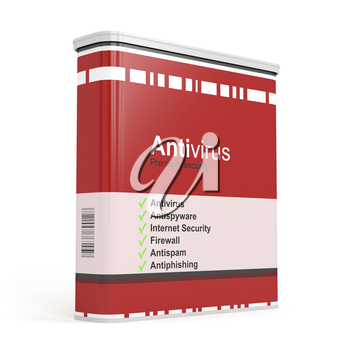 Antivirus software box on white background