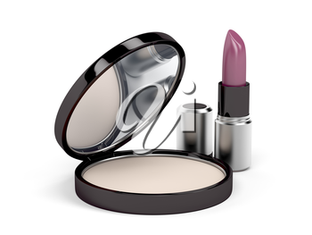 Compact powder and lipstick on white background