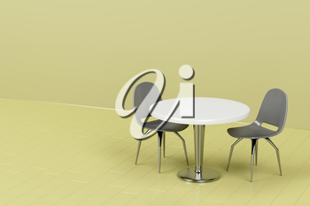 Modern table and chairs in green room
