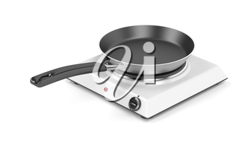 Hot plate and frying pan on white background