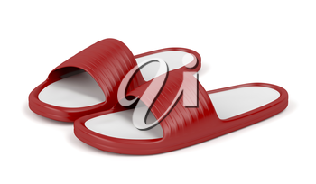 Red rubber slippers on white background