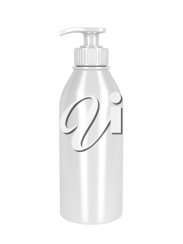 White plastic bottle with pump, used for liquid soap, shampoo and etc.
