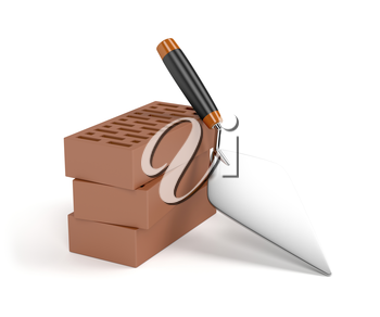 Trowel and bricks on white background