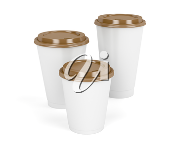 Three paper coffee cups with brown lids on white background