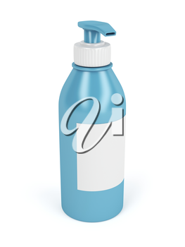 Lotion bottle with pump and blank label on white background