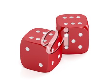 Red winning dices on white background
