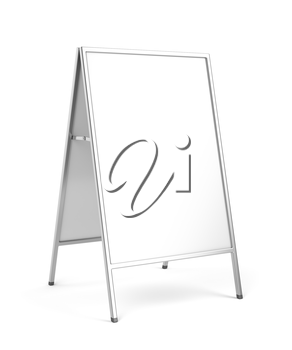 Advertising stand with silver frame on white background