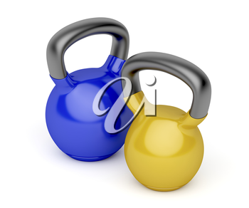 Kettlebells with different weights on white background