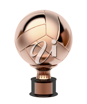 Bronze volleyball trophy, isolated on white background