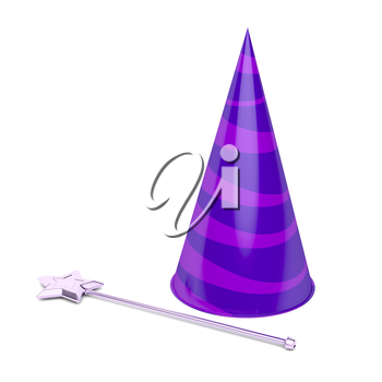 Cone hat and magic wand on white background