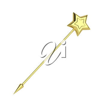 Golden magic wand isolated on white background