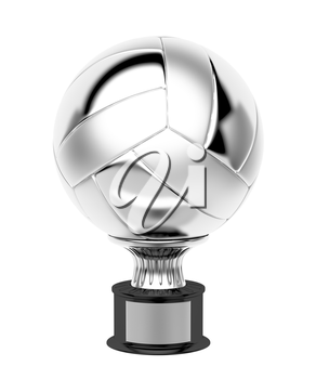 Silver volleyball trophy, isolated on white background