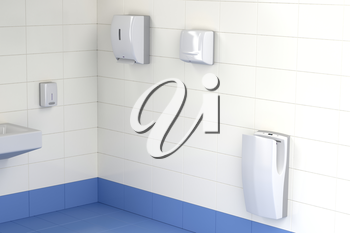 Automatic paper towel, hand dryer and jet hand dryer in the public toilet