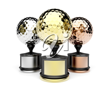 Gold, silver and bronze golf trophies on white background