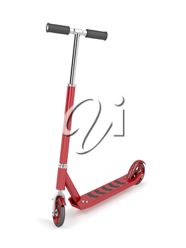Red kick scooter on white background