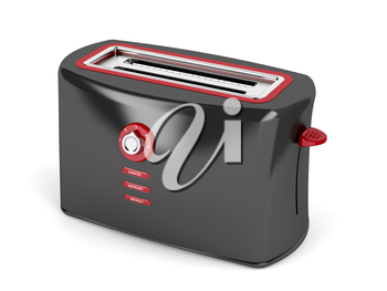 Black electric toaster on white background