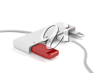 4-port usb hub with connected usb sticks and usb cable