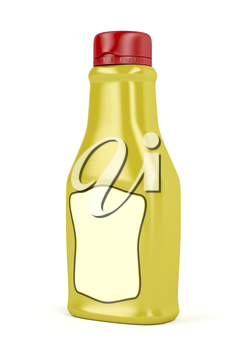 Mustard bottle with blank label on white background