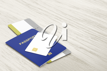 Passport and blank bank card and boarding pass on wooden table