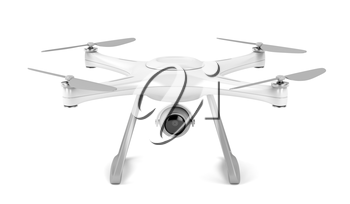 Unmanned aerial vehicle (drone) on white background