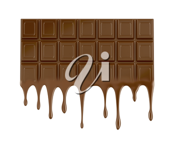 Melted chocolate bar on white background