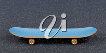 Blue skateboard on the asphalt