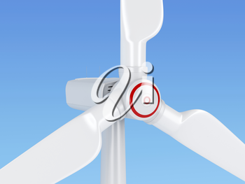 Close-up of wind turbine generating electricity