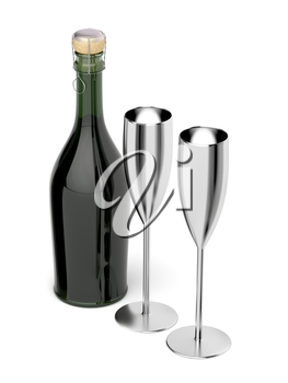 Pair of silver champagne flutes and bottle on white background