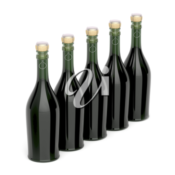 Row with champagne bottles on white background