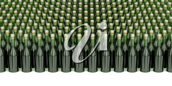 Many rows with champagne bottles, 3D illustration