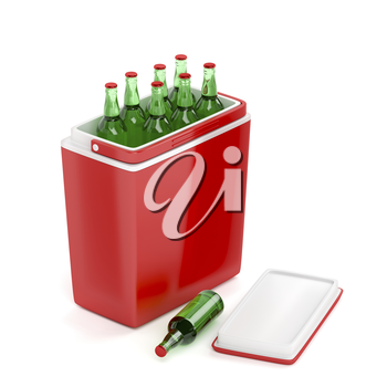 Red cooling box with beer bottles on white background