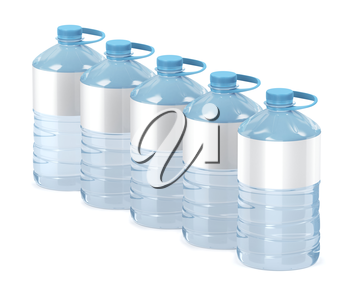 Row of five big water bottles on white background