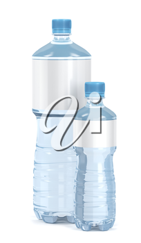 Small and big water bottles with blank labels on white background