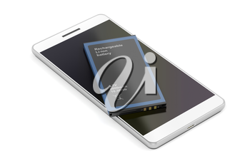 Smartphone with spare Lithium-ion battery on white background