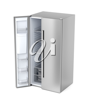 Silver side-by-side refrigerator with opened door on white background