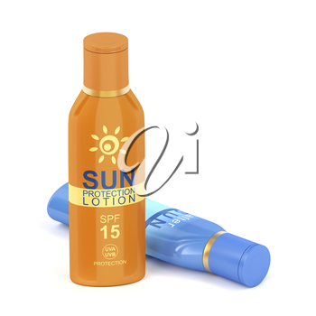Sunscreen and after sun lotions on white background, 3D illustration