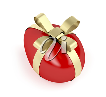 Red Easter egg with golden ribbon on white background