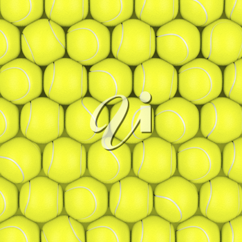 Multiple rows with tennis balls, top view