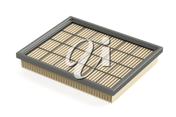 Car air filter on white background